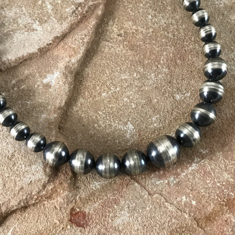 "20"" Single Strand Graduated Oxidized Sterling Silver Beaded Necklace 7 - 12 mm"