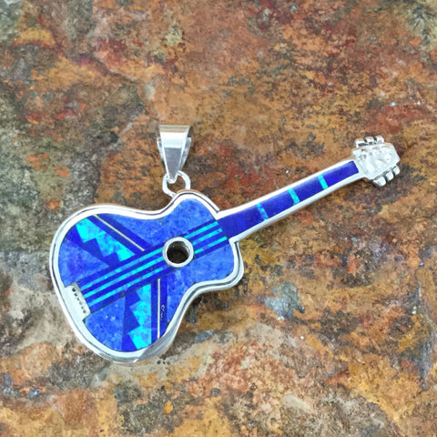 David Rosales Blue Sky Fancy Inlaid Sterling Silver Pendant Guitar