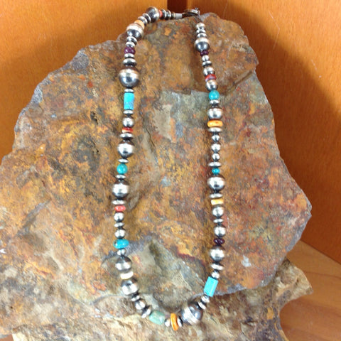 Turquoise & Oxidized Beads Necklace