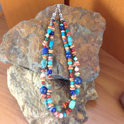 Multi-Stone Two-Strand Beaded Necklace