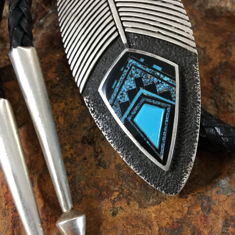 David Rosales Ithaca Peak Fancy Inlaid Turquoise Sterling Silver Bolo Tie