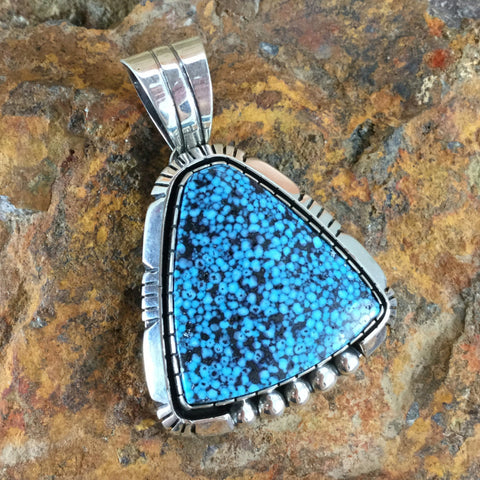 Kingman Web Turquoise Sterling Silver Pendant