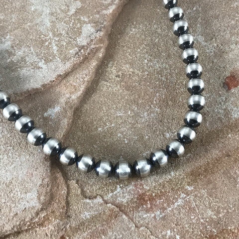 "20"" Single Strand Oxidized Sterling Silver Beaded Necklace 8 mm"