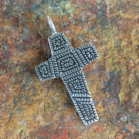 Traditional Sterling Silver Cross Pendant by Elgin Tom