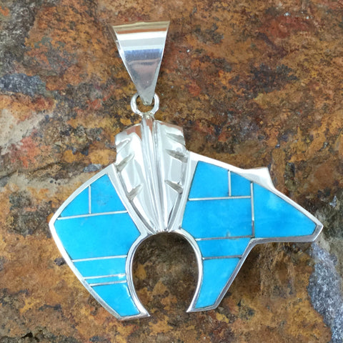 David Rosales Arizona Blue Inlaid Sterling Silver Pendant Bear