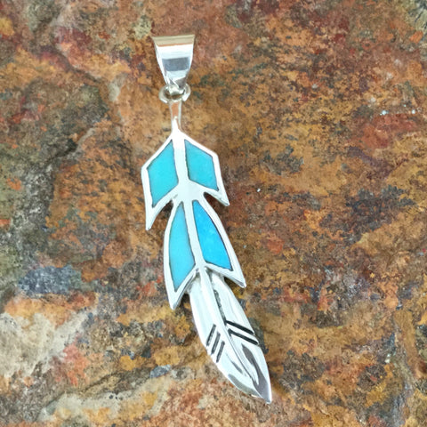 David Rosales Arizona Blue Inlaid Sterling Silver Pendant Feather
