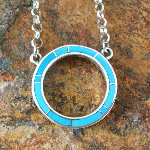 David Rosales Arizona Blue Inlaid Sterling Silver Necklace