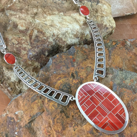 David Rosales Red Coral Inlaid Sterling Silver Necklace