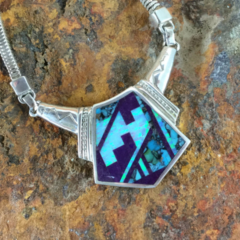 David Rosales Shalako Fancy Inlaid Sterling Silver Necklace