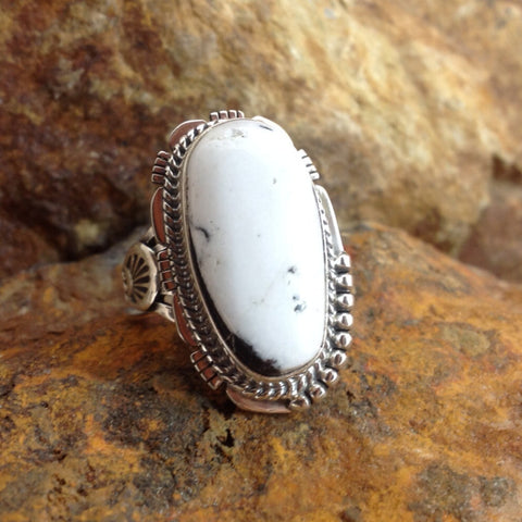 White Buffalo Sterling Silver Ring Size 8.5