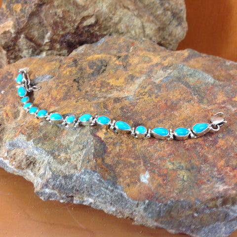 Sleeping Beauty Turquoise Sterling Silver Link Bracelet