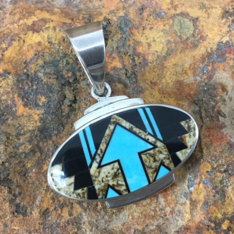 David Rosales Turquoise Creek Fancy Inlaid Sterling Silver Pendant