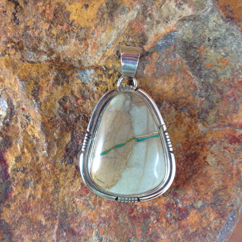 Boulder Turquoise Sterling Silver Pendant by Scott Keets