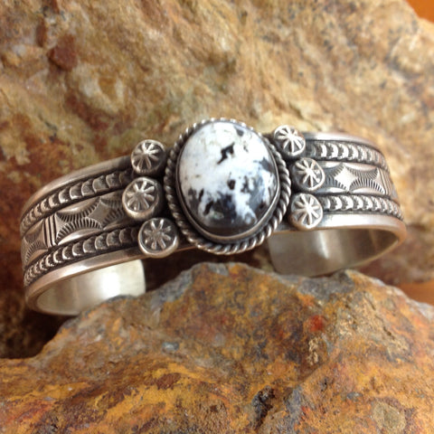 White Buffalo Sterling Silver Bracelet by Bruce Morgan