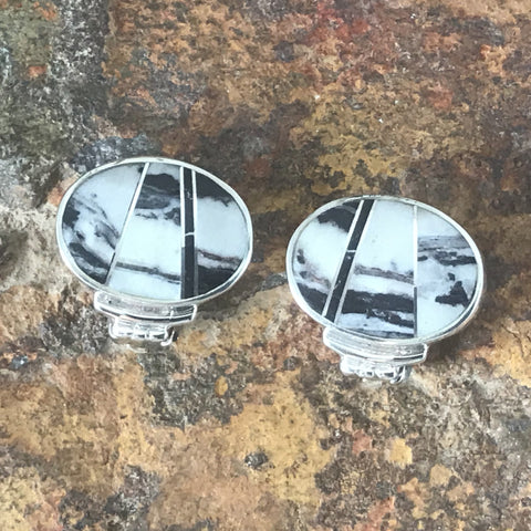 David Rosales White Buffalo Inlaid Sterling Silver Earrings Clips
