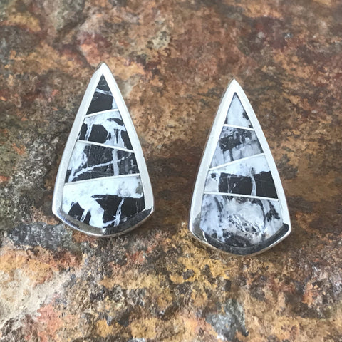 David Rosales White Buffalo Inlaid Sterling Silver Earrings