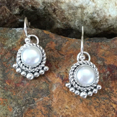 Traditional Sterling Silver Earrings by Artie Yellowhorse With Pearl