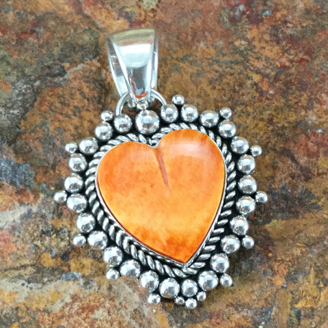 Spiny Oyster Sterling Silver Pendant by Artie Yellowhorse Heart