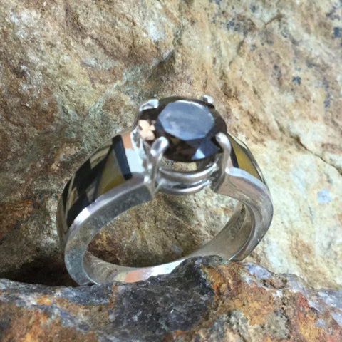 David Rosales Native Earth Fancy Inlaid Sterling Silver Ring w/ Smokey Topaz