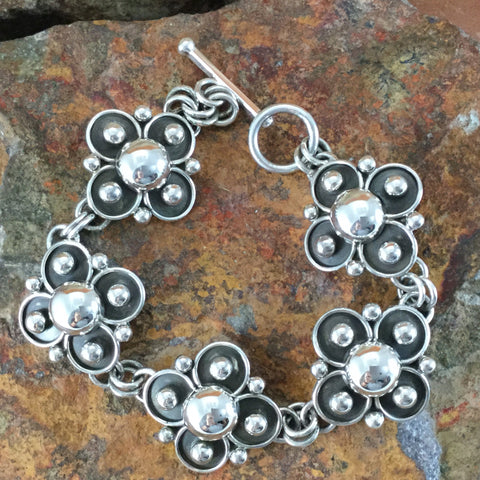 Traditional Sterling Silver Bracelet by Artie Yellowhorse