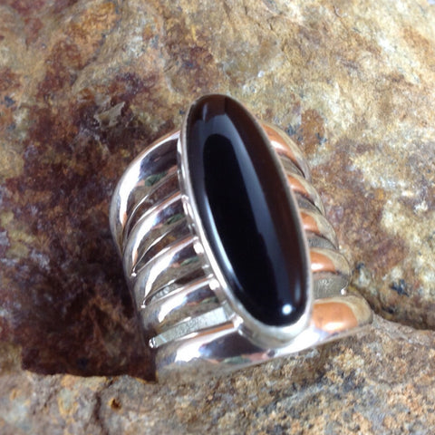 Onyx 5-Band Sterling Silver Ring -- Size 8