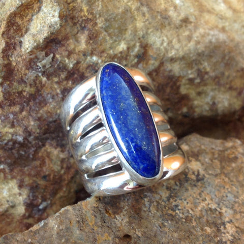 Lapis 5-Band Sterling Silver Ring -- Size 8.5
