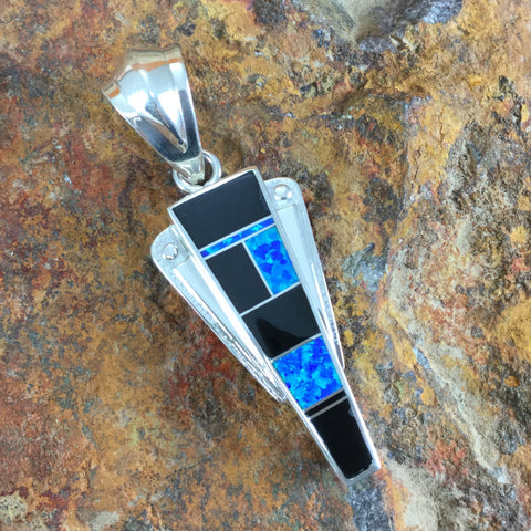 David Rosales Black Beauty Inlaid Sterling Silver Pendant