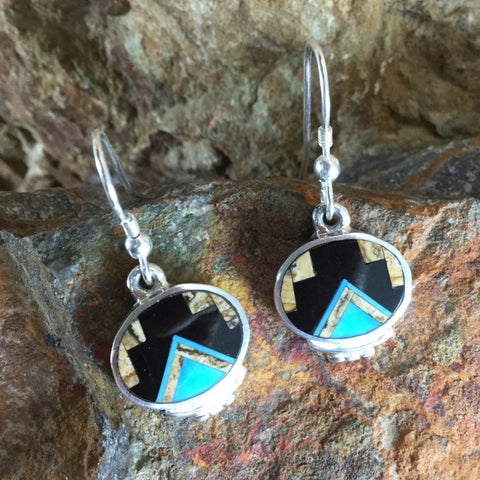 David Rosales Turquoise Creek Fancy Inlaid Sterling Silver Earrings