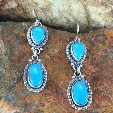 Campitos Turquoise Sterling Silver Earring by Martha Willeto