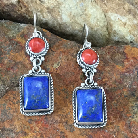 Lapis & Spiny Oyster Sterling Silver Earrings by Martha Willeto