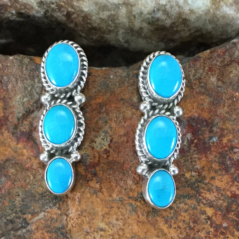Kingman Turquoise Sterling Silver Earrings by Ella Linkin