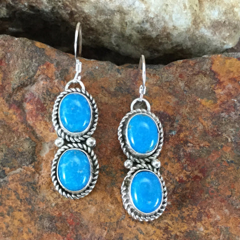 Kingman Turquoise Sterling Silver Earrings by Carol Wylie