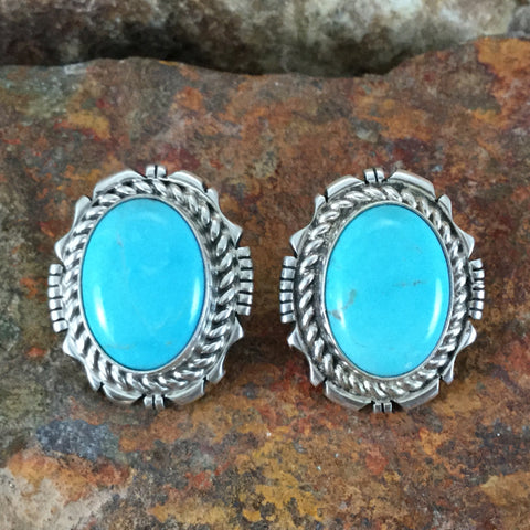 Kingman Turquoise Sterling Silver Earrings by Eddie Secatero