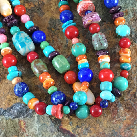 Multi-Stone Three Strand Beaded Necklace