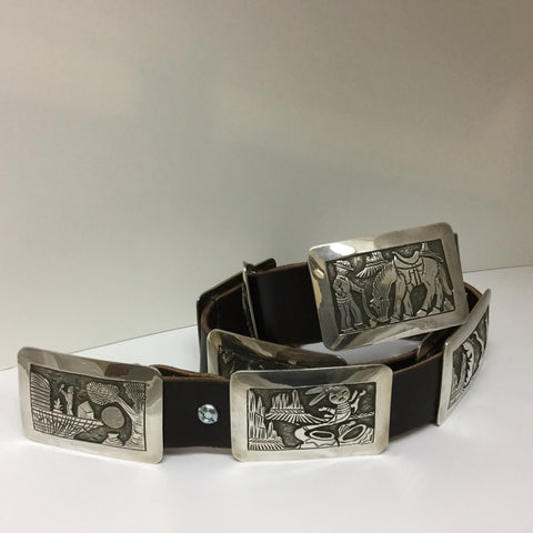 Story Teller Sterling Silver Concho Belt by Floyd Bicenti Sr - Estate Jewelry