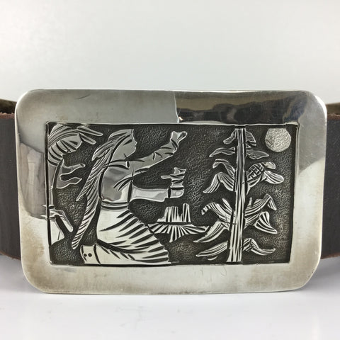 Vintage Story Teller Sterling Silver Concho Belt by Floyd Bicenti Sr - Estate Jewelry