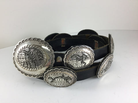 Story Teller Sterling Silver Concho Belt by Floyd Bicenti Jr - Estate Jewelry