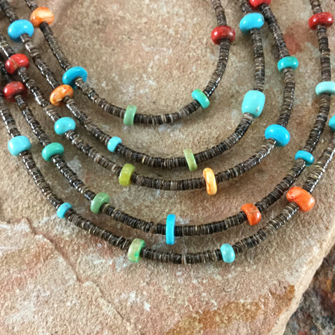 "24"" Five-Strand, Turquoise, Spiny, Coral and Heishi Beaded Necklace"
