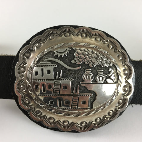 Vintage Story Teller Sterling Silver Concho Belt by Floyd Bicenti Jr - Estate Jewelry
