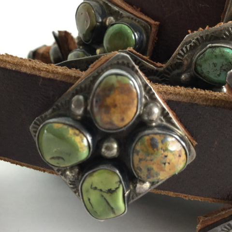Turquoise And Sterling Silver Concho Belt By Daniel Martinez