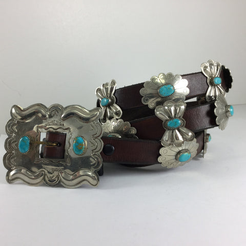 Turquoise & Silver Concho Belt - Estate Jewelry