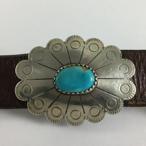 Vintage Turquoise & Silver Concho Belt - Estate Jewelry