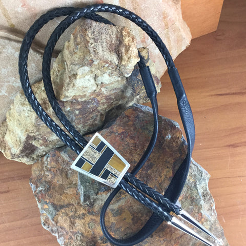 David Rosales Native Earth Inlaid Sterling Silver Bolo Tie
