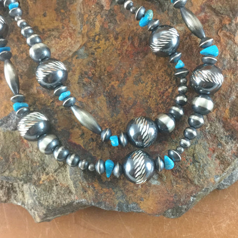 "46"" Single Strand Kingman Turquoise Sterling Silver Beaded Necklace"