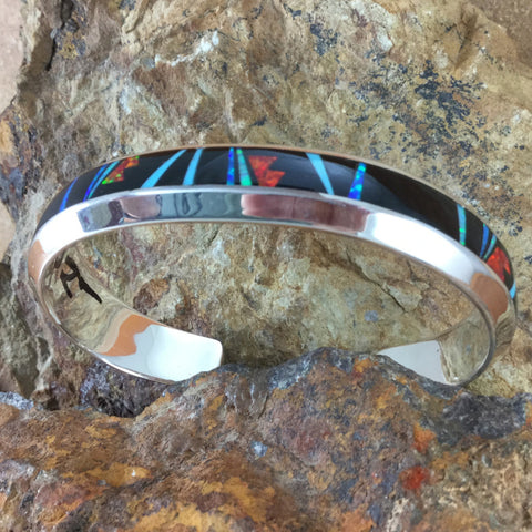 David Rosales Red Moon Inlaid Sterling Silver Cuff Bracelet