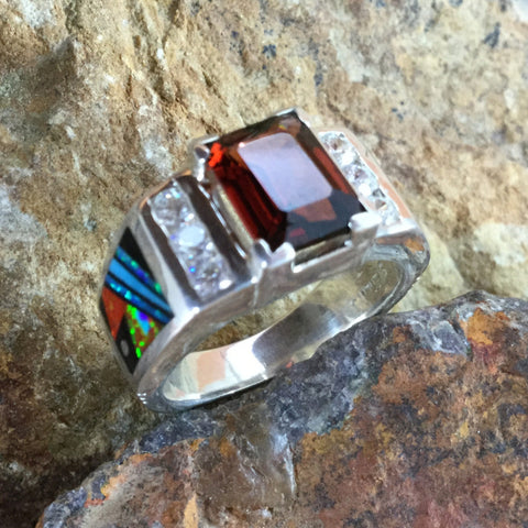 David Rosales Red Moon Inlaid Sterling Silver Ring  w/ Red Garnet