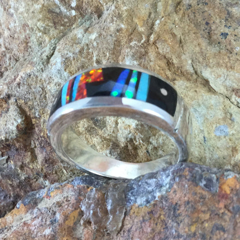 David Rosales Red Moon Inlaid Sterling Silver Ring