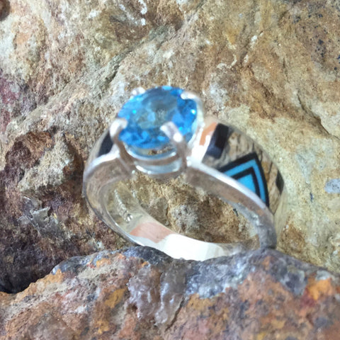 David Rosales Turquoise Creek Fancy Inlaid Sterling Silver Ring w/ Blue Topaz