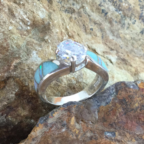 David Rosales Amazing Light Inlaid Sterling Silver Ring w/ Cubic Zirconia