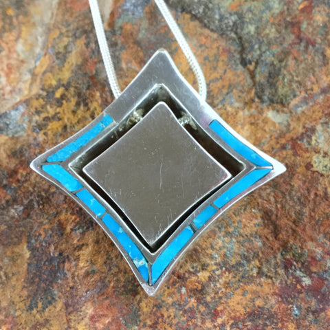 David Rosales Amazing Light Inlaid Sterling Silver Necklace
